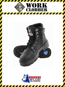 dd4392e90fb Details about Steel Blue Argyle Zip Black Leather Lace Up Safety Boot  312152 NEW IN BOX!