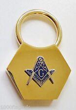 "Square & Compasses with ""G"" Brass Hexagonal Masonic Key Fob - K109"