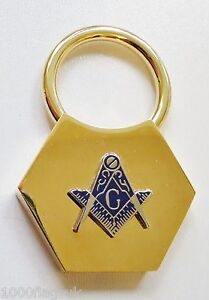Square-amp-Compasses-with-G-Brass-Hexagonal-Masonic-Key-Fob