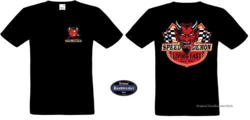 T Shirt schwarz HD Biker Chopper-/&Old Schooldruck Modell Speed Demon Living Fast