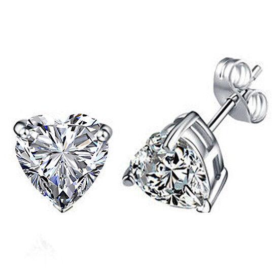 5.5Ct Heart 10K White gold Diamond Stud Earrings April Birthstone Valentine Gift
