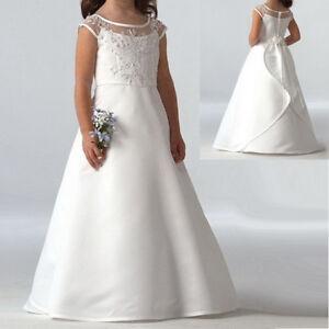 Lace Tutu Flower Girl Dress Princess Satin Wedding Holy Communion