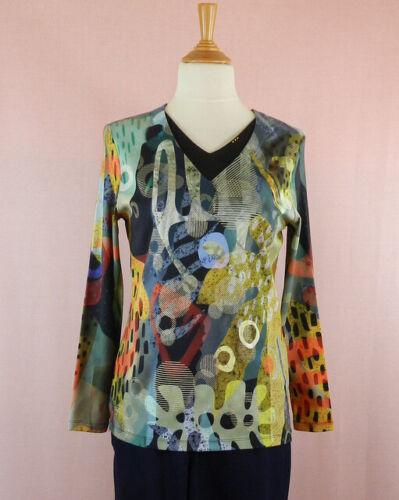 Tee shirt femme en coton déco originale multicolore manches longues