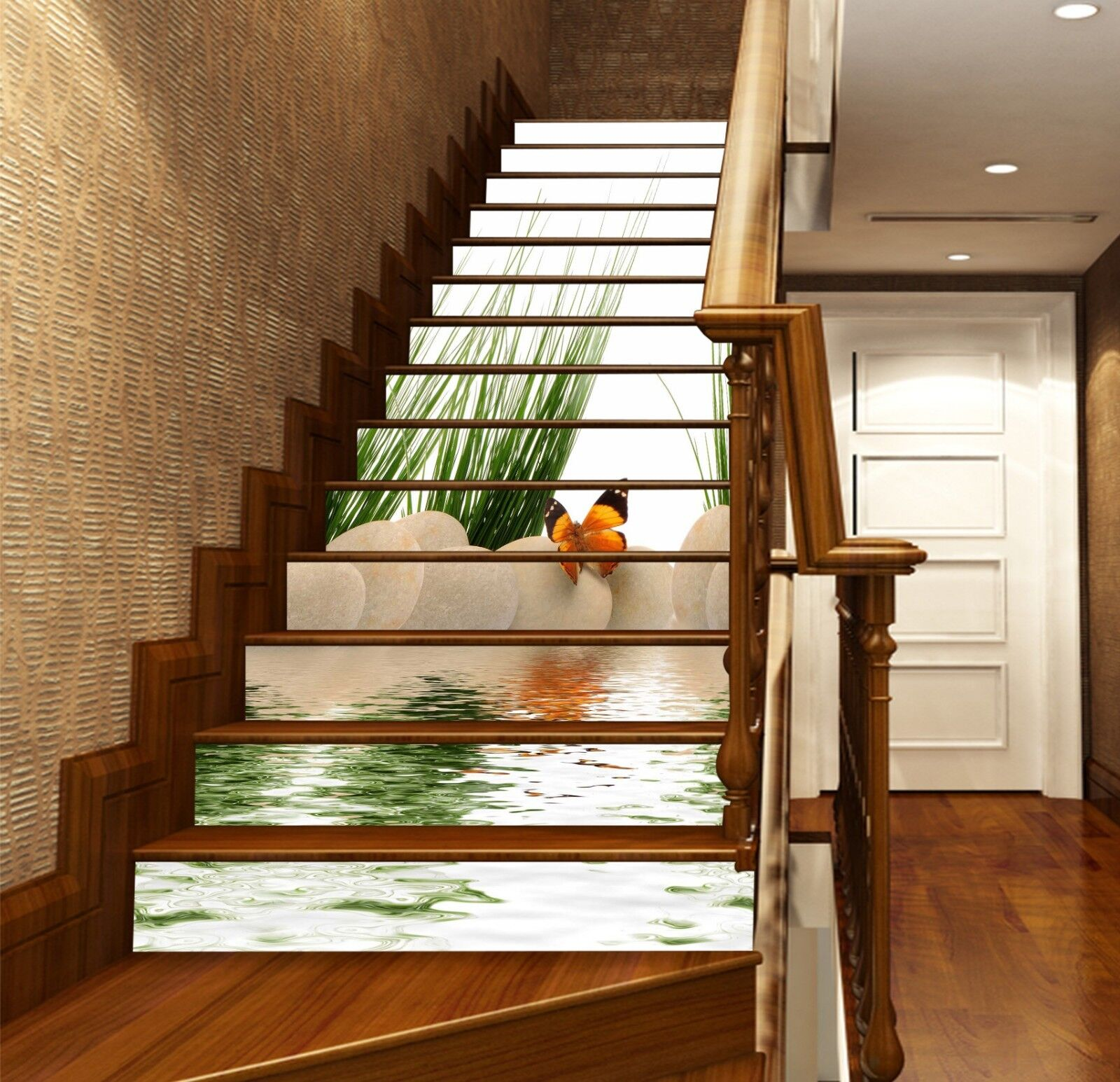 3D Butterfly River Stair Risers Decoration Photo Mural Vinyl Decal Wallpaper US