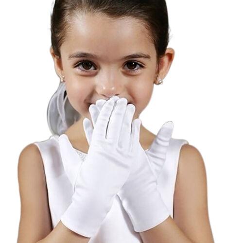 Kid Gloves Short Satin Feel Boy Hold Flower Girl Performance Dance ElasticU M1I0