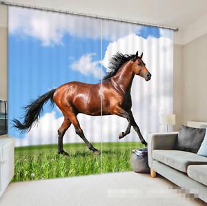 Caballo de césped 3D 2 Cortinas de impresión de cortina de foto Blockout Tela Cortinas Ventana CA