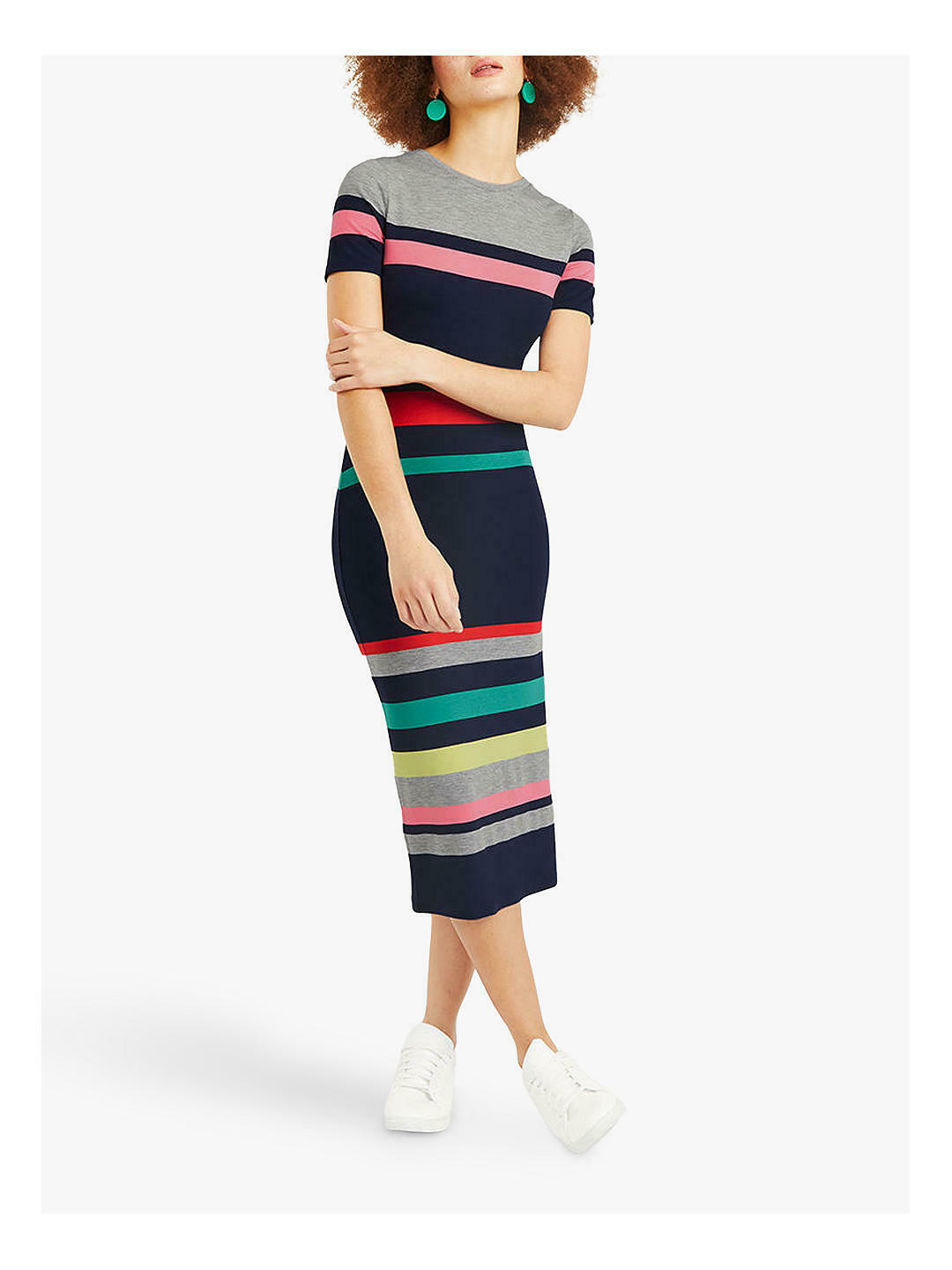 Oasis Rainbow Stripe Midi Dress Multi-colour Summer Dress UK XS