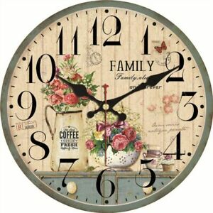 Home Wall Clock Watch Kitchen Living Room Decoration Floral Designed Accessories