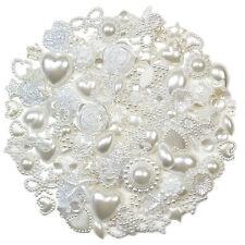 50pcs WHITE Flatback Pearl Embellishments Scrapbooking Hearts Wedding Craft