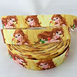 "1M 7//8/"" Beauty And The Beast Disney Princess Grosgrain Ribbon Hair Bow Craft"