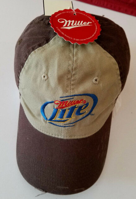 Miller Lite Beer Hat Trucker Cap Distressed Brown Embroidered Strap Back  one sz a8fcdc0f6015