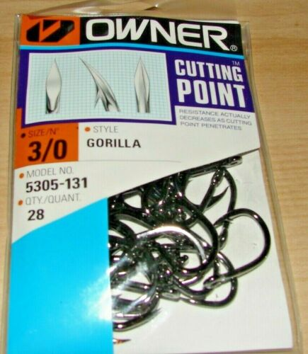 OWNER GORILLA Cutting Point 5305-131 Size 3//0 28 HOOKS PER PACK
