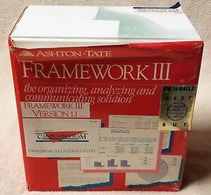 Ashton-Tate-FRAMEWORK-III-Version-1-1-SOFTWARE-1988-Complete-Books-Disks-IBM-PC