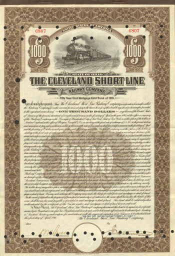The Cleveland Short Line Railway Company > 1911 Ohio Railroad stock certificate