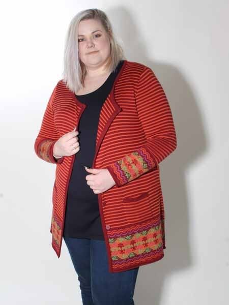 Long Cardigan Lily White Size 4 = 48-50 XXL in orange Rust, New
