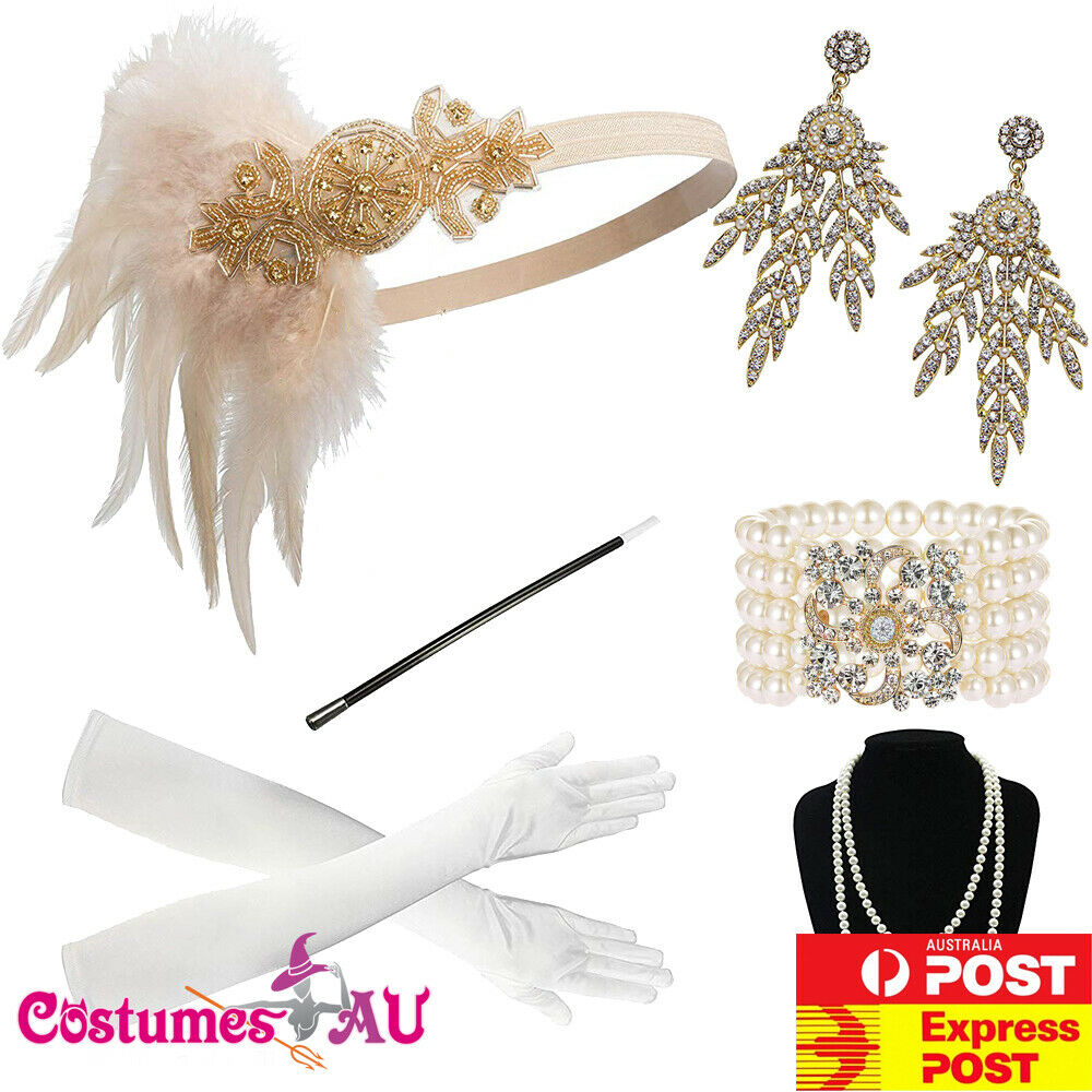 6pcs 20s Gatsby Flapper Gloves Necklace Headpiece Earring Costume Accessories