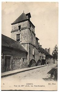 CPA-14-LISIEUX-Calvados-61-Tour-du-XIVe-siecle-rue-Paul-Bonastou-ND-Ph