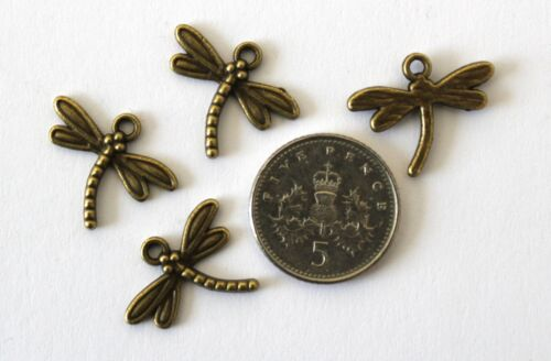 10 25 or 50 Antique Bronze Effect Alloy Dragonfly Charms 18x15mm