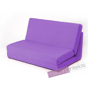 Purple-fold-out-z-bed-chaise-double-canape-2-places-futon-lit-Matelas-Guest-Student