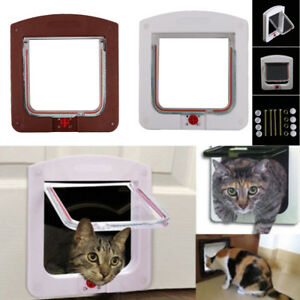 Small-Dog-Cat-Door-Pet-Animal-Magnetic-Locking-Lockable-4-Way-for-Pet-Entry-Exit