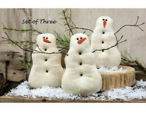 PRIMITIVE-SNOWMAN-DOLLS-3-pcs-Christmas-7-25-034-x-5-5-034-Tea-Stained-Winter-Crafts
