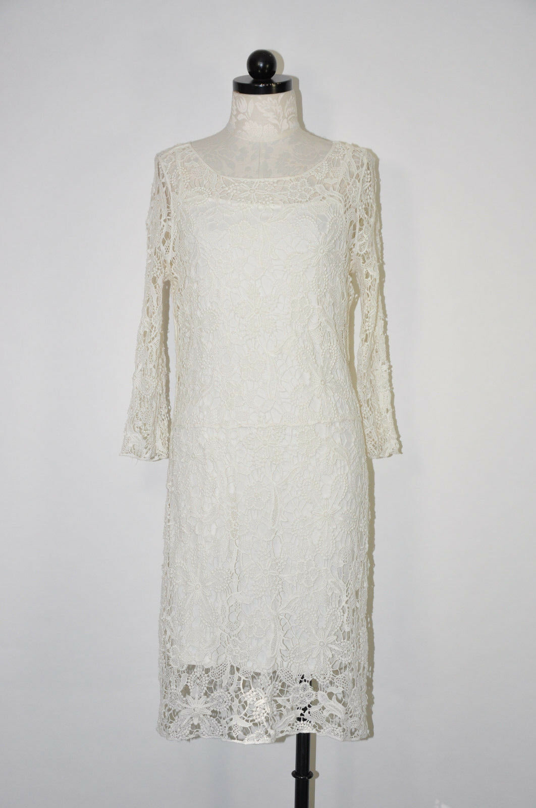 LAUREN RALPH LAUREN White Cotton Guipure Lace Embroidery Sheer Sheath Dress L
