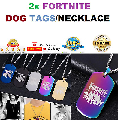 BRAND NEW FORTNITE DOG TAG NECKLACE BATTLE ROYAL CHAIN