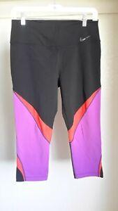 NIKE Running Womens Large Cropped Leggings Dri-Fit Black/Purple/Red EUC