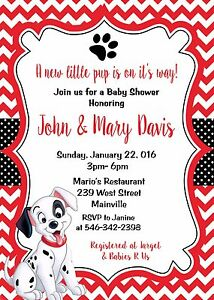 Image Is Loading 101 Dalmatians Dalmatian Puppy Dog Baby Shower Invitation