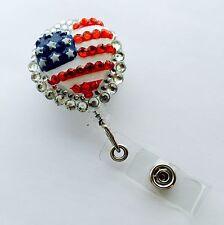 Bling 3d Heart American Flag retractable ID HOLDER badge reel lanyard retractor