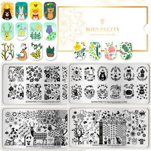 BORN-PRETTY-Nail-Art-Stempel-Platten-Fruehlings-Garten-Rechteck-Stempel-Vorlagen