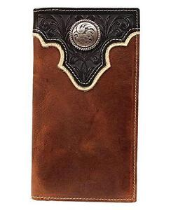 Ariat Western Mens Wallet Tooled Overlay Concho Leather