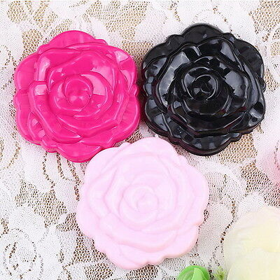 Retro Rose Flower Shape Cosmetic Makeup Compact Mirror 3D Stereo Double Sided HS
