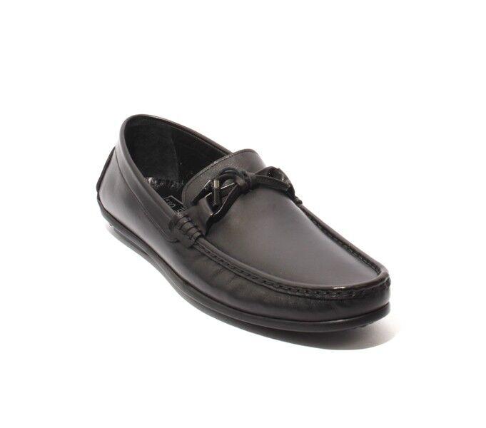 ROBERTO SERPENTINI 48252 Black Leather Tassel Moccasins Loafers 44 / US 11