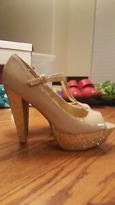 4dda860c1dc Image is loading G-by-GUESS-Nude-Glitter-Platform-Heels