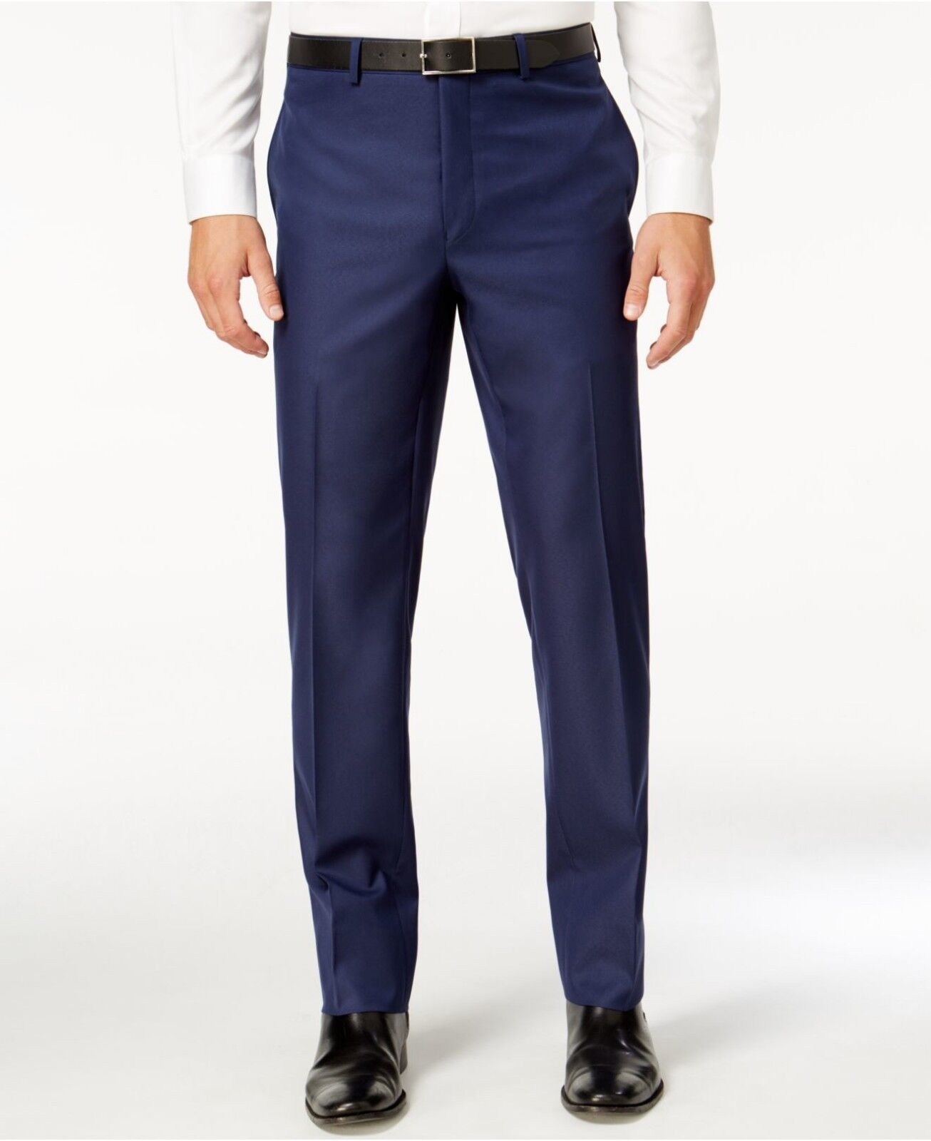 MARC NEW YORK Mens Classic Fit Trousers bluee Solid FLAT FRONT PANTS 39W