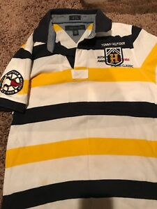 Details about Tommy Hilfiger Polo Shirt Retro Vintage Stripe Collar Button Rugby Casual (Y)