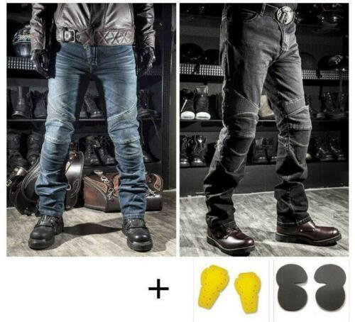 Punk Motorcycle Biker Distressed Pants Denim Jeans Mens Trousers Protection Pads