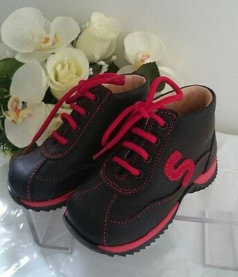 BABY Halbstiefel Kinder Schuhe MADE IN ITALY Gr. 21 Schwarz Rot LEDER