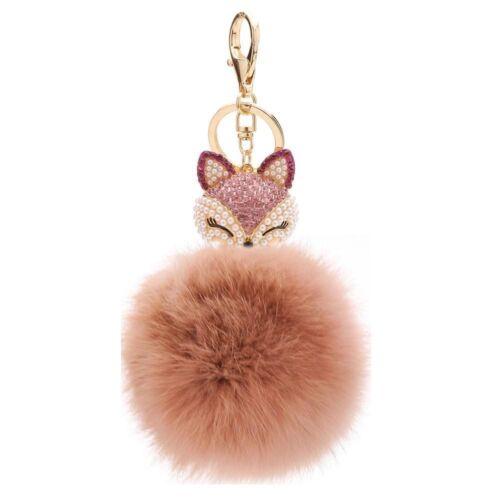 FOX Portachiavi Ciondolo Portafortuna Con Perle /& Strass Pon Pon accessorio di moda regalo