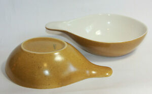 2-Vtg-WillsGrove-Stoneware-Pottery-Bowl-Rhodesian-Yellow-Speckled-Handled-Bowl