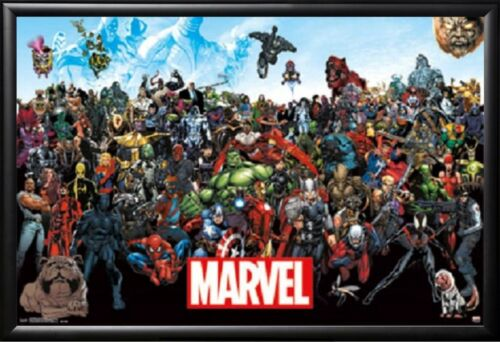 Framed Marvel Heros Poster in Premium Black Wood Frame