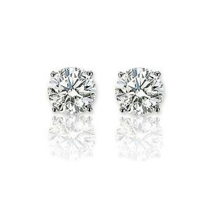 6213bed3a Details about 1.00 ct G SI1 ROUND CUT DIAMOND STUD EARRINGS 14K WHITE GOLD