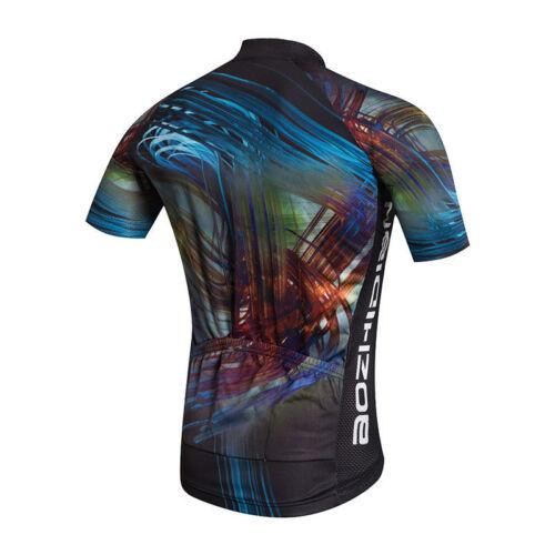 Men/'s Cycling Jersey Full Zip Cycle Bicycle Biking Jersey Shirt Coolmax S-5XL