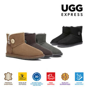 【EXTRA20%OFF】UGG Women Mini Button Boots Australian Sheepskin Water Resistant