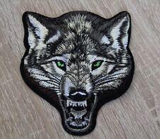 Aufbügler Aufnäher Wolf Wolve Kopf ca. 10 x 9 cm Biker Bügelbild Patch gestickt