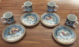 Sakura-Debbie-Mumm-Snow-Angel-Village-Set-of-4-Dessert-Plates-amp-Mugs-Christmas