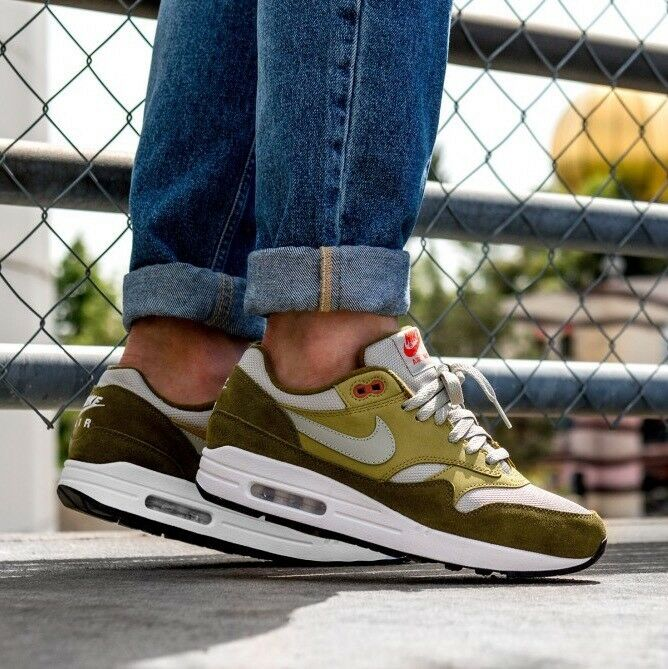 Men's Nike Air Max 1 Premium Retro Green Curry Sneakers size 9.5 Brand discount