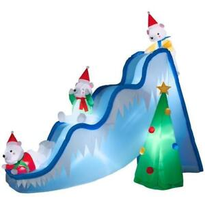 9 ft lighted inflatable airblown polar bears on slide scene christmas outdoor