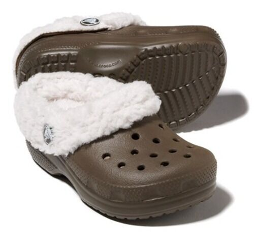 Crocs Mammoth Faux Fur Shearling Clog ,Chocolate//Oatmeal New Toddler//Little Kid